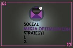 Signe des textes montrant la stratégie d'optimisation sociale de médias Stratégies conceptuelles de SEO Advertising Marketing de  illustration libre de droits