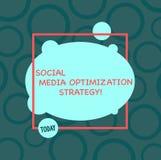 Signe des textes montrant la stratégie d'optimisation sociale de médias Stratégies conceptuelles de SEO Advertising Marketing de  illustration de vecteur