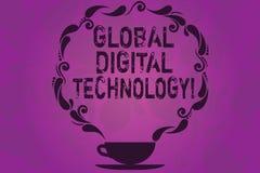 Signe des textes montrant la technologie numérique globale L'information digitalisée par photo conceptuelle sous forme de tasse e illustration stock