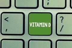 Signe des textes montrant la vitamine D Élément nutritif conceptuel de photo responsable d'augmenter l'absorption intestinale photographie stock libre de droits
