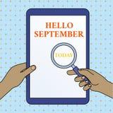 Signe des textes montrant le bonjour septembre Photo conceptuelle voulant ardemment un accueil chaleureux au mois des mains de se illustration de vecteur