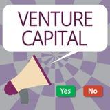 Signe des textes montrant le capital-risque Le financement conceptuel de photo a fourni par des entreprises à la petite partie ce illustration de vecteur