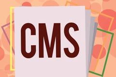 Signe des textes montrant le CMS La photo conceptuelle contrôle la création et la réforme de l'application logiciel du contenu nu illustration libre de droits