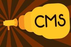 Signe des textes montrant le CMS La photo conceptuelle contrôle la création et la réforme de l'application logiciel du contenu nu illustration stock