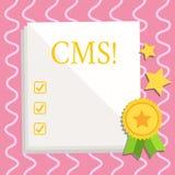 Signe des textes montrant le CMS Modification conceptuelle d'assistances techniques de gestion de contenu de photo du blanc blanc illustration libre de droits