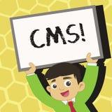Signe des textes montrant le CMS Modification conceptuelle d'assistances techniques de gestion de contenu de photo du jeune souri illustration libre de droits