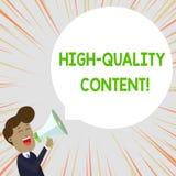 Signe des textes montrant le contenu de haute qualit? Le site Web conceptuel de photo est s'engager instructif utile au jeune hom illustration libre de droits
