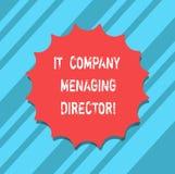 Signe des textes montrant le directeur général d'entreprise de TI Patron professionnel Blank Seal de technologie de l'information illustration de vecteur
