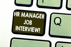 Signe des textes montrant le directeur Job Interview d'heure Ressources conceptuelles de huanalysis de recrutement de photo reche photos stock