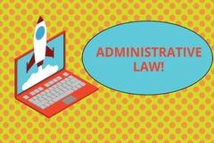 Signe des textes montrant le droit administratif Corps conceptuel de photo des ordres de règlements de règles créés par un gouver illustration stock