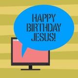 Signe des textes montrant le joyeux anniversaire Jésus La photo conceptuelle célébrant la naissance du jour de Noël saint de Dieu illustration libre de droits