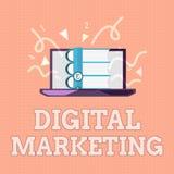 Signe des textes montrant le marketing de Digital Promotion conceptuelle de photo des produits ou des marques par des supports él illustration libre de droits