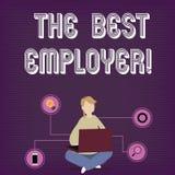 Signe des textes montrant le meilleur employeur La photo conceptuelle a créé la sensation d'apparence de lieu de travail a entend illustration libre de droits