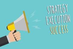 Signe des textes montrant le succès d'exécution de stratégie Photo conceptuelle mettant le plan ou la liste et le début la faisan illustration stock