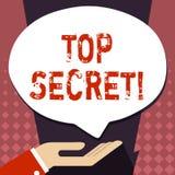 Signe des textes montrant le top secret La plus haute paume des informations ou d'endroits de dossiers fortement confidentiels de illustration de vecteur