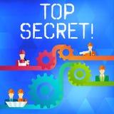 Signe des textes montrant le top secret La plus haute vitesse de dent des informations ou d'endroits de dossiers fortement confid illustration de vecteur
