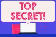 Signe des textes montrant le top secret Les informations les plus élevées ou les endroits de dossiers fortement confidentiels de  illustration libre de droits