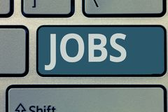 Signe des textes montrant les travaux Position payée par photo conceptuelle du devoir d'emploi et de la tâche réguliers de respon photos libres de droits