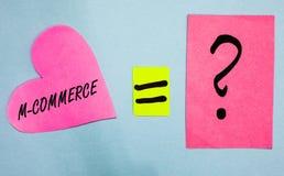 Signe des textes montrant M Commerce Les transactions commerciales de photo conceptuelle conduites électroniquement par le papier photos libres de droits