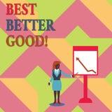 Signe des textes montrant mieux mieux bon Photo conceptuelle s'améliorer choisissant la meilleure amélioration décisive bien choi illustration libre de droits