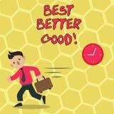 Signe des textes montrant mieux mieux bon Photo conceptuelle s'améliorer choisissant la meilleure amélioration décisive bien choi illustration de vecteur