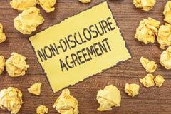 Signe des textes montrant non l'accord de révélation Matériel confidentiel ou information de contrat juridique conceptuel de phot images libres de droits