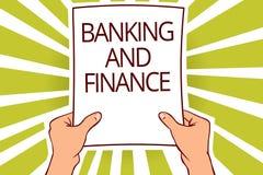 Signe des textes montrant des opérations bancaires et des finances La comptabilité de photo et les intérêts conceptuels d'argent  illustration stock