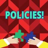 Signe des textes montrant des politiques Normes conceptuelles de règlements de règles de société commerciale ou de gouvernement d illustration stock