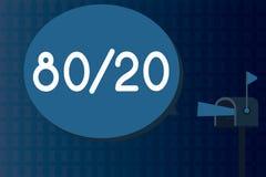 Signe des textes montrant 80 20 Principe conceptuel de Pareto de photo de la distribution statistique d'espacement de facteur des illustration stock