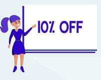 Signe des textes montrant 10  Remise conceptuelle de photo de dix pour cent au-dessus du dégagement de vente de promotion de prix illustration libre de droits