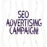 Signe des textes montrant Seo Advertising Campaign La photo conceptuelle favorisant un site pour augmenter le nombre de verticale illustration libre de droits