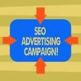Signe des textes montrant Seo Advertising Campaign Photo conceptuelle favorisant un site pour augmenter le nombre de flèches de l illustration libre de droits