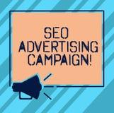 Signe des textes montrant Seo Advertising Campaign Photo conceptuelle favorisant un site pour augmenter le nombre de lien de dos illustration de vecteur