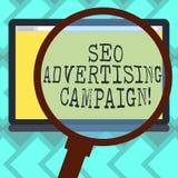 Signe des textes montrant Seo Advertising Campaign Photo conceptuelle favorisant un site pour augmenter le nombre de lien de dos illustration stock
