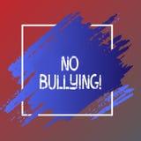 Signe des textes ne montrant aucune intimidation Assaut d'agression de harcèlement d'abus interdit par photo conceptuelle illustration libre de droits