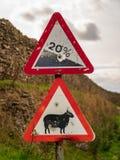 Signe : Descente de 20%, mouton d'attention image stock