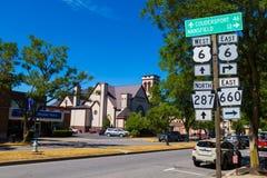 Signe directionnel d'itinéraire de Wellsboro photos libres de droits