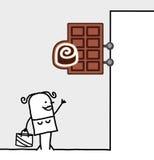 Signe du consommateur et de système - chocolat illustration de vecteur
