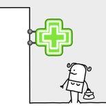 Signe du consommateur et de système - pharmacie Images stock