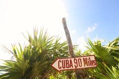 Signe du Cuba près de palmier photos stock