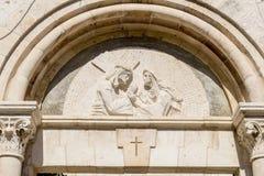 Signe du culte des chrétiens sur par l'intermédiaire de Dolorosa à Jérusalem Image libre de droits
