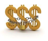 Signe du dollar d'or, réseau et cadenas Photos stock