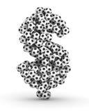 Signe du dollar des billes du football du football Image libre de droits