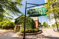 Signe du fleuriste de Ratcliffe historique Photographie stock libre de droits