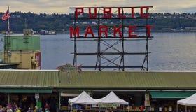 Signe du marché de place de Pike Image libre de droits
