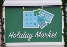 Signe du marché de vacances de place de New York Times photo libre de droits