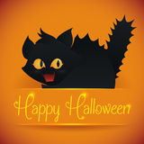 Signe effrayé mignon de Kitty With Halloween, illustration de vecteur Image libre de droits
