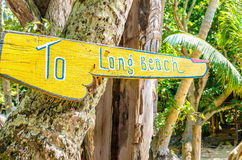 Signe en bois à Long Beach photographie stock libre de droits