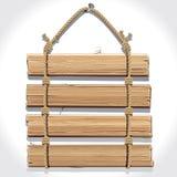 Signe en bois avec la corde accrochant sur un clou. Images stock