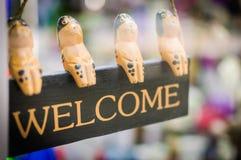 Signe en bois bienvenu fait main image libre de droits